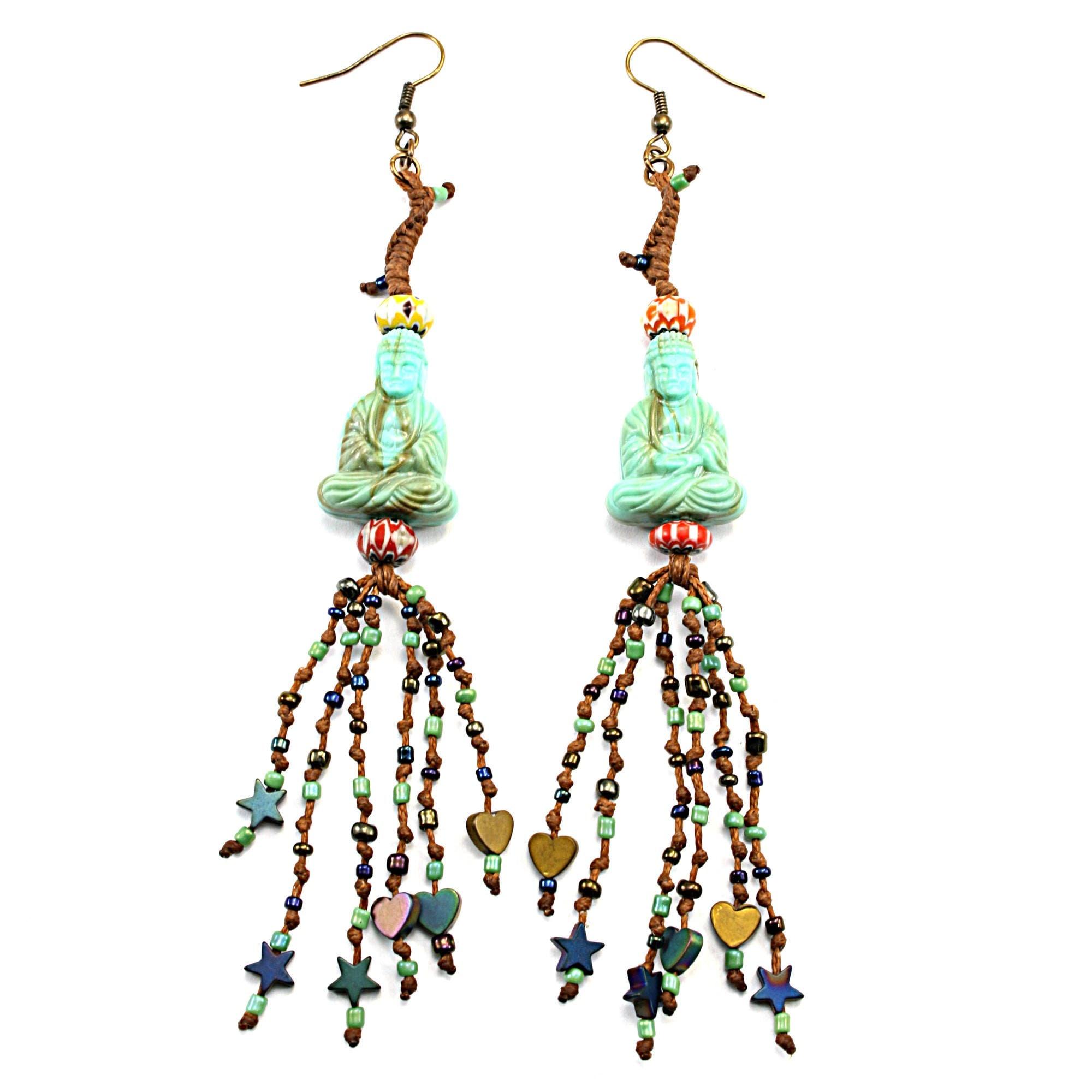 Boho earrings with buddha, Bohemian style earrings, Boho jewelry ...
