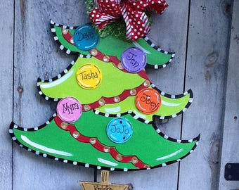 Family tree sign, family christmas tree sign, family sign, ornament sign, ornament door sign, christmas tree sign,Holiday tree sign
