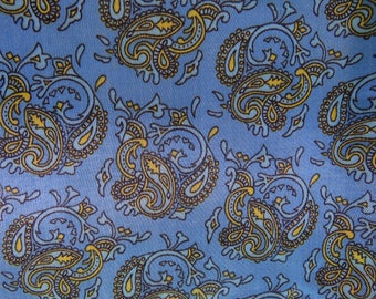 1970s vintage paisley - blue and yellow satin 2.5 metres