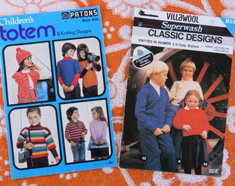 Vintage 1970s knitting pattern booklets for children x 2 - classic styles for boys and girls Paton's also Villawool