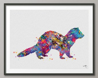 Ferret Watercolor Print Animal Wall Art Nursery Wall Art Domestic Animal Art Kids Room Decor Ferret Art Wall Hanging Baby Shower [NO 861]