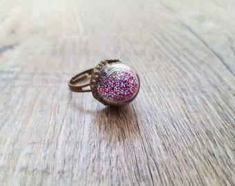 "Purple Microbeads ring: ""Nasturtium"""