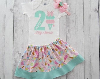 Two Sweet Birthday Outfit in pink and mint - ice cream birthday girl, headband, ice cream cone, second birthday, birthday 2, mint pink