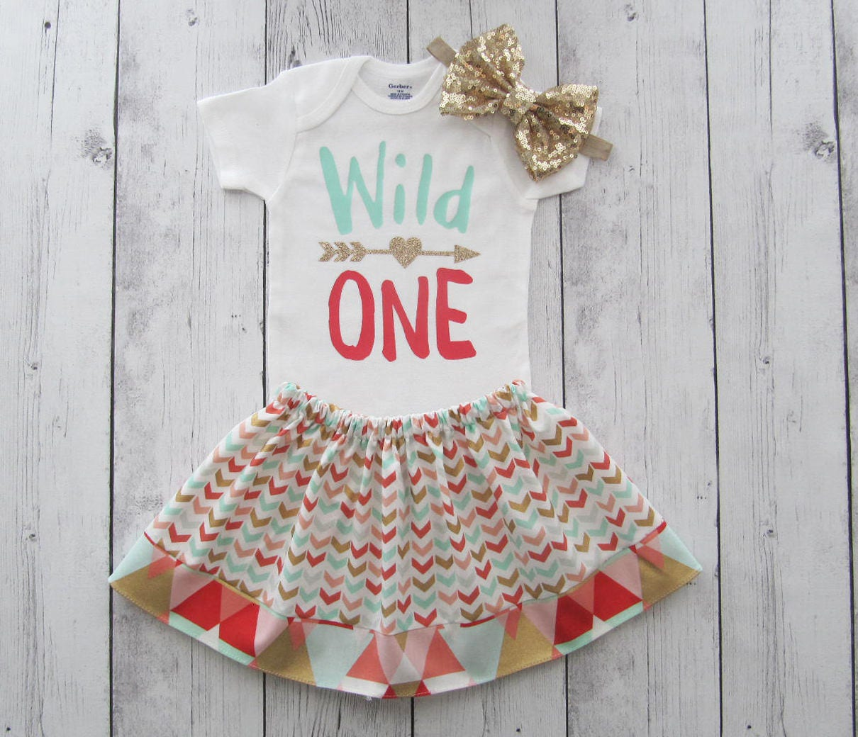 Wild One Birthday Outfit For Girl Peach Mint Gold Girl