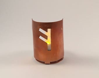 Fehu (F) copper tea light holder