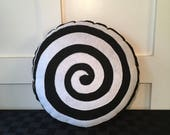 Spiral, Black and white , Twilight zone inspired , Geeky felt stuffed plush toy pillow