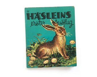 1960s children's book, Little hare's first day out, Litho Baby book 3, baby animal story