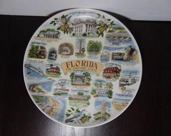 Vintage Florida Sunshine State Ceramic Souvenir Decorative Plate - Mid Century Modern