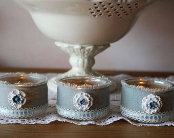 Romantic candles, linen, lace and Ribbon - shabby spirit