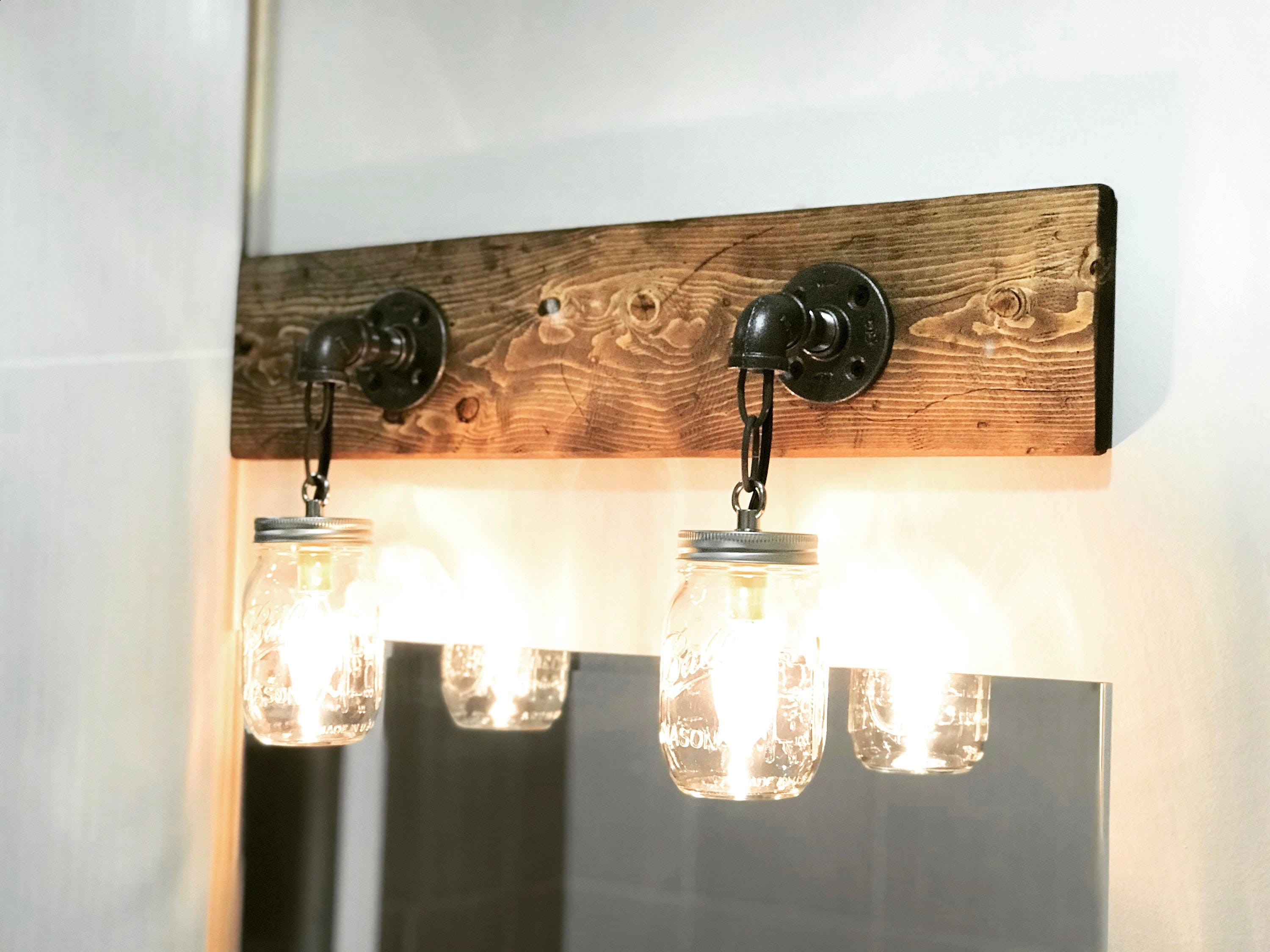 Rustic Industrial Modern Mason Jar Lights Vanity Light: Rustic Industrial Modern Mason Jar Lights Vanity Light