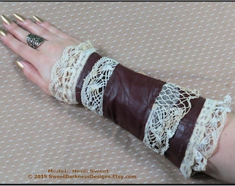 Steampunk Arm Bracer BURGUNDY LEATHER Wrist Corset Neo Victorian