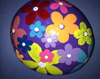 flower power hand painted rock