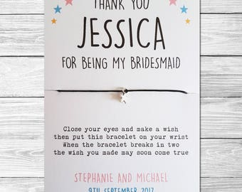 Thank You for being my Bridesmaid/Maid of Honour etc Wish Bracelet Gift