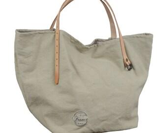 Color linen handbag with leather handles