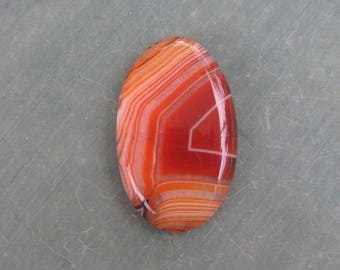 42x26x4 mm orange banded onix agate oval cabochon