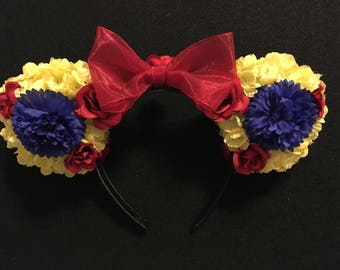 Snow White inspired floral custom mouse ears