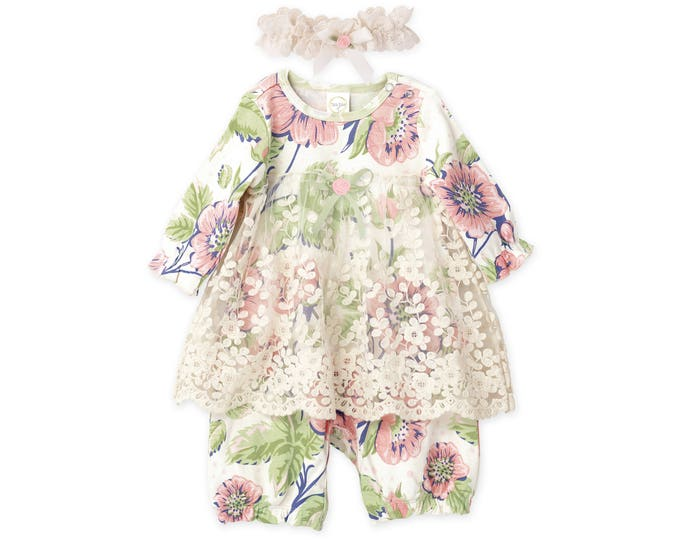 SUMMER SPECIAL! Baby Girl Dress, Newborn Girl Coming Home Outfit, Newborn Girl Outfit, Baby Lace Skirted Romper Vintage Floral RH54LRGPF1000