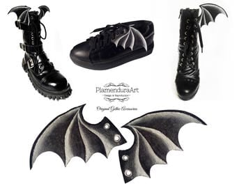 Bat Wings Shoe Charms Hand-Painted Gothic Accessories for Goth Girls and Boys