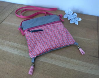 Shoulder bag in linen and cotton coated pink Petit Pan