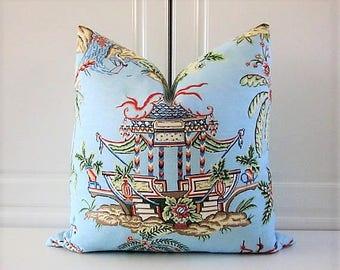 Thibaut Decorative Pillow Cover-Blue Asian Tea House-18x18, 20x20, 22x22, 24x24