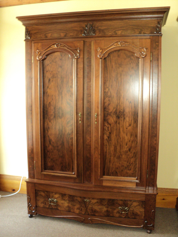 Antique Burl Walnut 2 Door Knockdown Wardrobe Armoire