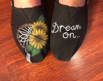 Sunflower dream catcher hand painted shoes!