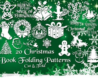 Christmas Book Folding Set - 20 Brand New Cut & Fold Bookfolding Patterns - Under 500 pages- Includes Full Instructions - Emailed PDF files