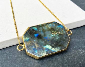 Labradorite necklace -  gemstone necklace - gemstone pendant - gemstone druzy labradorite pendant - boho chic gold labradorite necklace --