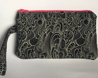 Japanese Style Black and White Wave, Pencil Case, Make Up Bag