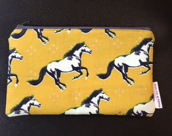 Gold Mustard Mustang Horse Pencil Case