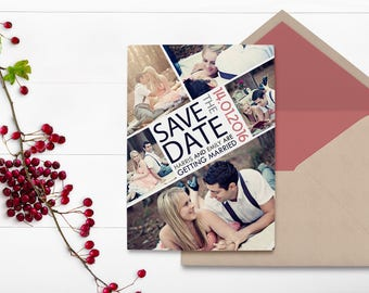 Photo Collage - Photo Save the Date - Save the Date Card - Vintage Wedding - Engagement Photo - Photo Board - Vintage Save the Date - Rustic