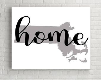 Massachusetts Wall Art, Printable Wall Art, Wall Decor, Printable Art, Digital Download, Instant Download Print, Massachusetts Map Sign