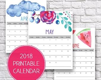 2018 Calendar, 2018 Monthly Calendar, Monthly Organizer, Watercolor Prints, 2018 Calendar Printable, Organization Ideas, Printable Calendar