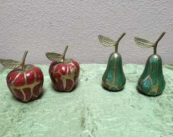 BRASS PEARS and APPLES, Brass Apples and Pears, Brass Fruits