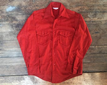 Vintage Western Shirt - Medium - Thick Material - Blood Orange - Sanfornized - Frost Proof - Warm Shirt - Mens Fashion - Cowboy Shirt -