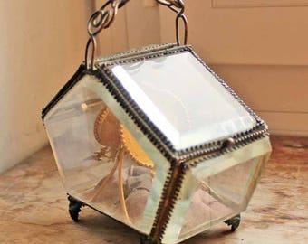 Antiqu glass box for pocket watches /  end of 19th century rare shape jewelry glass box /Vintage display box motif angels