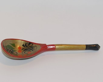 Russian Wooden Spoon Golden Khokhloma painting Handmade Spoon Rest Soviet Russian national ornament vintage Russian Folk Art