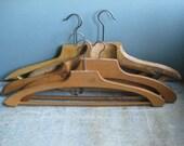 5 vintage French wooden coat hangers