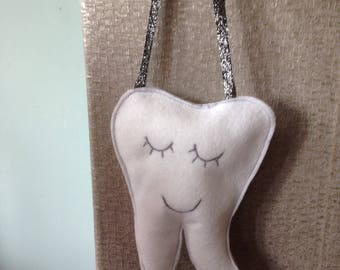 Tooth fairy pillow/hanging decoration with pocket for tooth. Bedroom decor