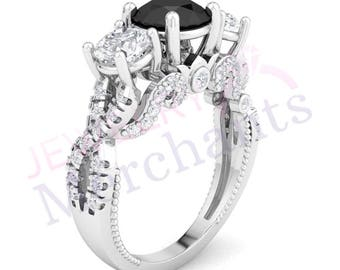 Three Stone Infinity Ring 2.15 Ct Black & White Round Cut Engagement Ring 925 Sterling Silver 14K White Gold Over Twisted Shank Wedding Ring
