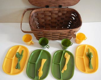 Vintage Basketville Picnic Basket Set - Wicker Weave, Wooden - 1970s - 4 plates, 4 cups, 4 sets of utensils, yellow & green, original box