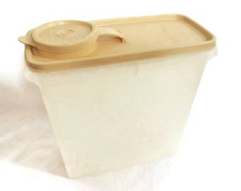Vintage Tupperware Cereal Storer Container - sheer, maize gold, 469, 470, 471 - snacks, storage, pantry, food, retro kitchen, collectible