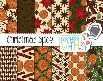 "Christmas Digital Paper - ""Christmas Spice"" - hand drawn cloves, cinnamon, star anise, pine branches and orange slices - commercial use OK"