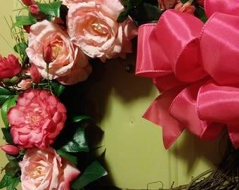 Silk Flower Wreath, Mothers Day, Spring Wreath, Summer Wreath, Wreath, Front Door Wreath, Rose, Door Wreath, Faux Flower, Rose Wreath