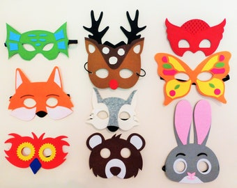 FELT MASKS, Set of 9, Forest Animals Masks, Woodland animal masks, Kids masks, wolf fox masks, owl bunny masks, bear frog