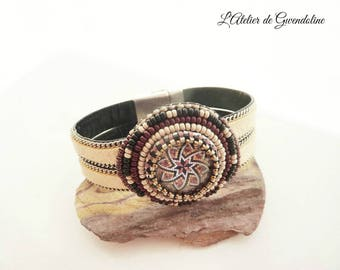 Beige bracelet, beadwork, Brown, black, Cappadocia with bicycle, Bohemian, suede, chain, magnetic clasp