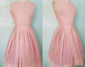 Adorable late 50's/Early 60's Soft Pink Dress