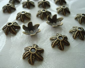 Sale! 30% off Antique Bronze Dancing Leaf Caps. 50pc 11x4mm. Fits 14mm Beads. Finely Detailed, Antiqued, Sweeping Leaf Petals. Big 2mm Hole.