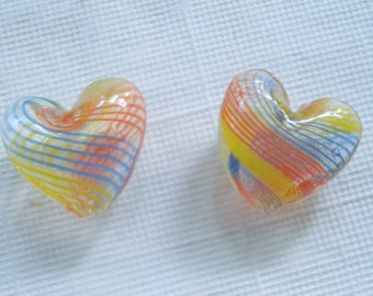 DeStash! 4pc Tiny Hollow Lampwork Handmade Heart Beads. Striped. 17x15x9mm  Only 1 Availablw! ((Out of Production)) ~USPS Ship Rates/OR