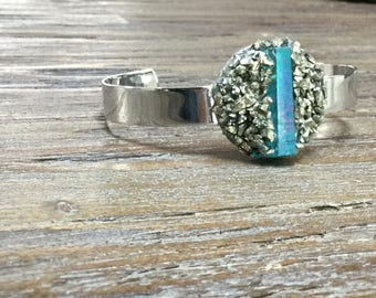 Blue Iridescent Crystal  Quartz and Pyrite Silver Cuff Bracelet/Modern Boho Gemstone Cuff/Crystal Bangle Bracelet